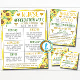 Nurse Appreciation Itinerary Set, Luncheon Invite, Thank You Tag, Healthcare Hospital Staff Appreciation Week, INSTANT DOWNLOAD Templates
