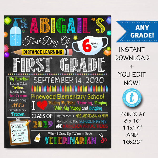 Face Mask First Day Of Virtual School Sign, Back to School 2020 Chalkboard Poster Quarantine, Any Grade, 1st Day of School Editable Template