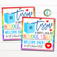 Back To School Gift Tag, Kleenex Tissue a New School Year Teacher Staff Gift, Rainbow School Supply Tag School Pto Pta DIY Editable Template
