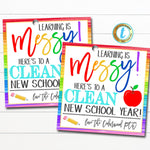 Back To School Gift Tag, Clean New School Year Teacher Staff Gift, Rainbow School cleaning Supplies Tag School Pto Pta DIY Editable Template