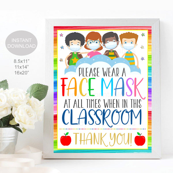 School Face Mask Sign, Face Masks Required, School Covid19 Safety Guidelines and Virus Prevention Poster, Digital Printable Instant Download
