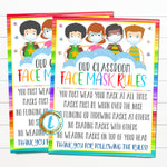 School Face Mask Rules Sign, Face Masks Required, School Covid19 Safety Guidelines and Virus Prevention Poster, Printable EDITABLE TEMPLATE