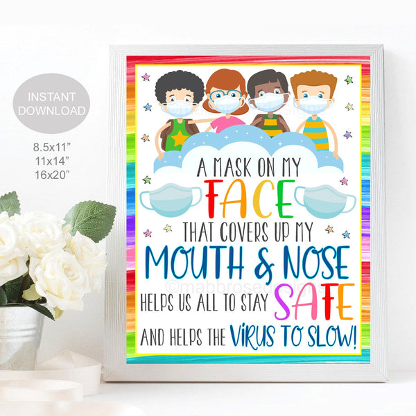 School Face Mask Poem, Face Masks Required, Kids Elementary School Covid19 Safety Virus Prevention Poster Digital Printable Instant Download
