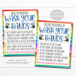 Wash Your Hands Sign Set, School Covid19 Safety Guidelines and Virus Prevention Hand Washing Rules Poster Digital Printable Instant Download