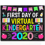 First Day of Kindergarten 2020 Quarantine, Virtual Distance Online E-learning, Back to School Chalkboard Sign, Printable, Instant Download