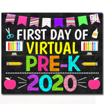 First Day of Pre-K 2020 Quarantine, Virtual Distance Online E-learning, Back to School Chalkboard Sign, Printable, Instant Download
