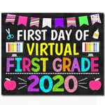 First Day of First Grade 2020 Quarantine, Virtual Distance Online E-learning, Back to School Chalkboard Sign, Printable, Instant Download