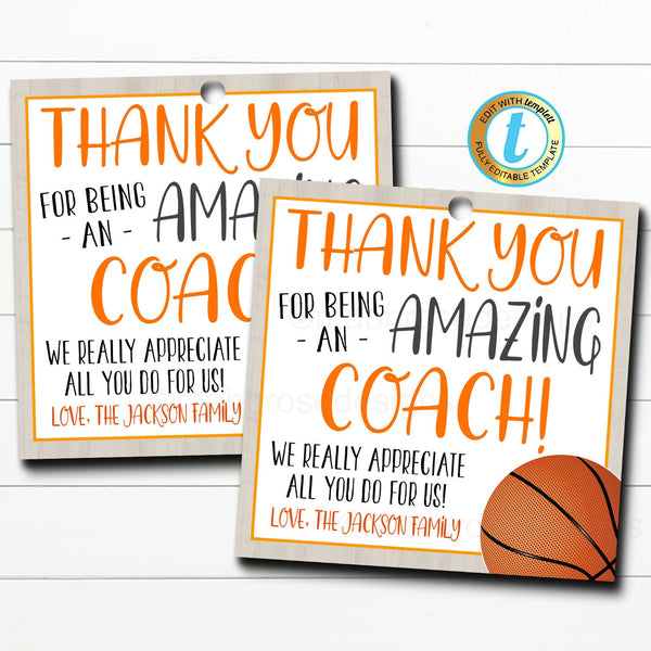 Basketball Coach Gift Tag, School Sports Team Appreciation, Thank You to an Amazing Coach, End of Basketball Season, DIY Editable Template