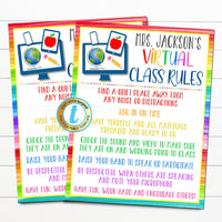 Virtual Classroom Rules Sign, Zoom Online School, Distance Learning Student Teacher Expectations, Digital Printable, EDITABLE TEMPLATE