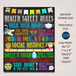 School Health Safety Poster, Health Clinic Nurse, Classroom Teacher Guidelines, Wash Your Hands, Wear a Mask Six feet apart INSTANT DOWNLOAD
