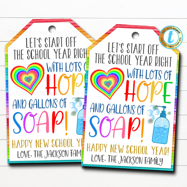 Back To School Soap Gift Tag, New School Year Teacher Staff Gift, Sanitizer Soap Gift, Clean Hands Down School Pto Pta DIY Editable Template