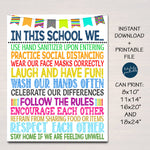 School Health Safety Poster, Health Clinic Nurse, Classroom Teacher Guidelines, Wash Your Hands, Wear a Mask School Rules, INSTANT DOWNLOAD