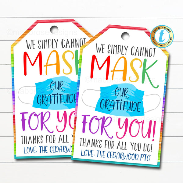 Face Mask Gift Tag, Thank You Frontline Essential Worker, Employee Appreciation Corporate Company Teacher School Staff DIY Editable Template