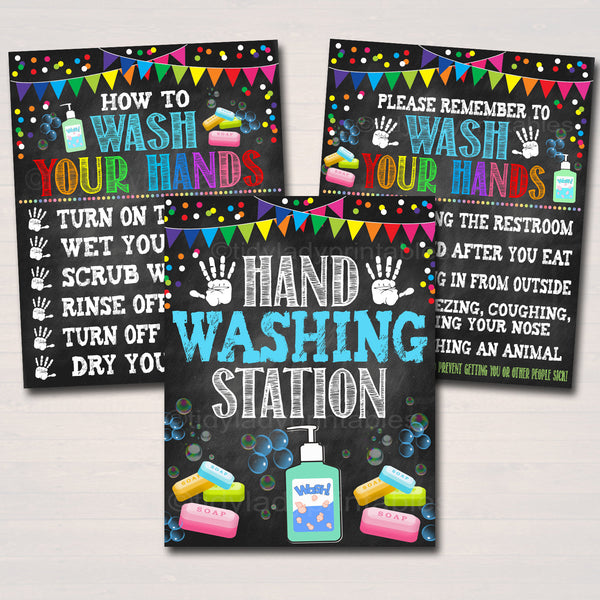 Hand Washing Posters, Health Safety Prevention Posters, School Classroom Signs, Wash Your Hands School Nurse Health Clinic, INSTANT DOWNLOAD