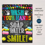 Wash Your Hands With Soap Water and a Smile, School Health Safety Poster, School Bathroom Art, School Nurse Health Clinic, INSTANT DOWNLOAD