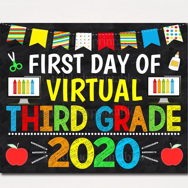 First Day of Virtual Third Grade 2020 Quarantine, Distance Online E-learning, Back to School Chalkboard Sign, Printable, Instant Download