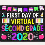 First Day of Virtual Second Grade 2020 Quarantine, Distance Online E-learning, Back to School Chalkboard Sign, Printable, Instant Download