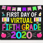 First Day of Virtual Fifth Grade 2020 Quarantine, Distance Online E-learning, Back to School Chalkboard Sign, Printable, Instant Download