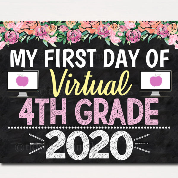 Girl First Day of Fourth Grade Sign 2020 Quarantine Virtual Distance Online E-learning, Back to School Chalkboard Printable Instant Download