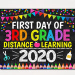 First Day of Third Grade 2020 Quarantine, Virtual Distance Online E-learning, Back to School Chalkboard Sign, Printable, Instant Download