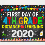 First Day of Fourth Grade 2020 Quarantine, Virtual Distance Online E-learning, Back to School Chalkboard Sign, Printable, Instant Download