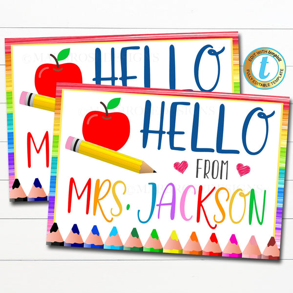 Teacher Postcard to Students Printable, Hello From the Teacher Virtual School Distance Online Learning Quarantine Letter, Editable Template