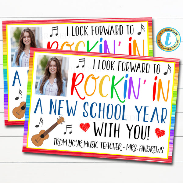 Music Teacher Postcard to Students Printable, Hello From the Teacher Virtual School Distance Learning, Quarantine Letter, Editable Template