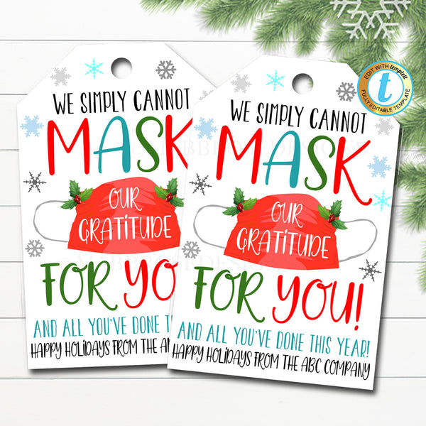 Christmas Face Mask Gift Tag Thank You Frontline Essential Worker, Employee Appreciation, Company Teacher School Staff DIY Editable Template