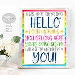 In Case No One Told You Today Classroom Positivity Quote, Social Worker Office Decor, Teacher School Counselor Sign, Digital Printable Sign