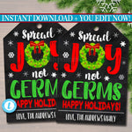 Christmas Gift Tag Spread Joy Not Germs, Soap Hand Sanitizer Label, Holiday Appreciation Secret Santa, White Elephant Gift Editable Template