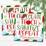 Christmas Teacher Gift Tag, Chocolate Teach Sanitize Repeat, Holiady Hand Sanitizer Soap Coffee Gift Card, School Pto, DIY Editable Template