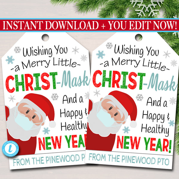 Christmas Face Mask Gift Tag Thank You Gift Tags, Teacher Employee Appreciation, Merry Christ-mask Holiday School Staff, Editable Template