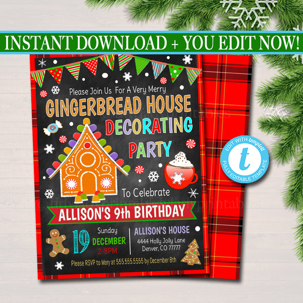 EDITABLE Gingerbread House Decorating Xmas Party, Invitation Kids Christmas Birthday Invite, Holiday Cookie Party Plaid, INSTANT DOWNLOAD