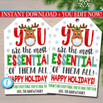 Christmas 2020 Gift Tag, You Are Essential, Teacher Staff Volunteer Nurse, Corporate Company Holiday Appreciation Gift, Editable Template