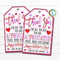 Valentine's Day Thank You Gift Tags, Teacher Staff Employee Nurse Volunteer Staff, Appreciation Tag, School pto pta, DIY Editable Template