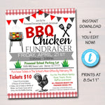 Bbq Chicken Fundraiser, Picnic Party Invite, Grill Out Party Printable, School Pta Pto Flyer, Corporate Company Event, EDITABLE TEMPLATE