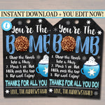 Chocolate Bomb Gift Tag, You're the bomb, winter hot cocoa Teacher Staff, New Years Appreciation Client Realtor Pop By Tag Editable Template