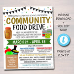 Food Drive Flyer, Printable Pta Pto Flyer, School Church Fundraiser Invite, Nonprofit Charity Community Donation Event, EDITABLE TEMPLATE