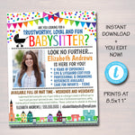 Babysitter Flyer, Printable Flyer, School Church Fundraiser Invite, Childcare Services Community Caretaker, Small Business EDITABLE TEMPLATE