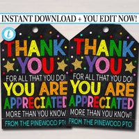 Thank You Gift Tags, Teacher Staff Employee Nurse Volunteer Staff Appreciation Week, You're a Star, School pto pta, Editable Template