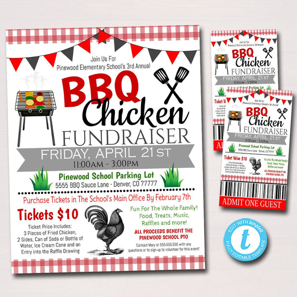 Bbq Chicken Fundraiser, Picnic Party Flyer Ticket Set, Grill Out Party Printable, School Pta Pto, Corporate Company Event, EDITABLE TEMPLATE