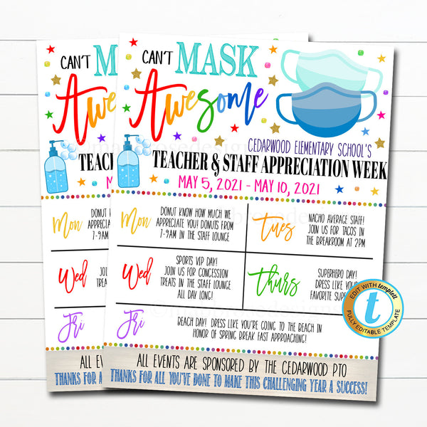 Virtual Teacher Appreciation Week Itinerary Schedule, Daily Weekly Calendar, Can't Mask Awesome School Pto Pta, Planner, Editable Template