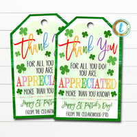 St. Patrick's Day Thank You Gift Tags, Teacher Staff Employee Nurse Volunteer Staff, Appreciation Tag, School pto pta, DIY Editable Template