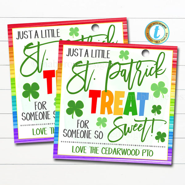 St. Patrick's Day Gift Tags, A treat for someone so sweet, Teacher Staff Nurse Appreciation School Pto Pta Thank You Label Editable Template