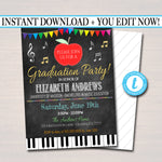 Music Teacher Graduation Invitation, Chalkboard Printable, College Graduate, Apple Invite, Music Education Teacher Party, EDITABLE TEMPLATE