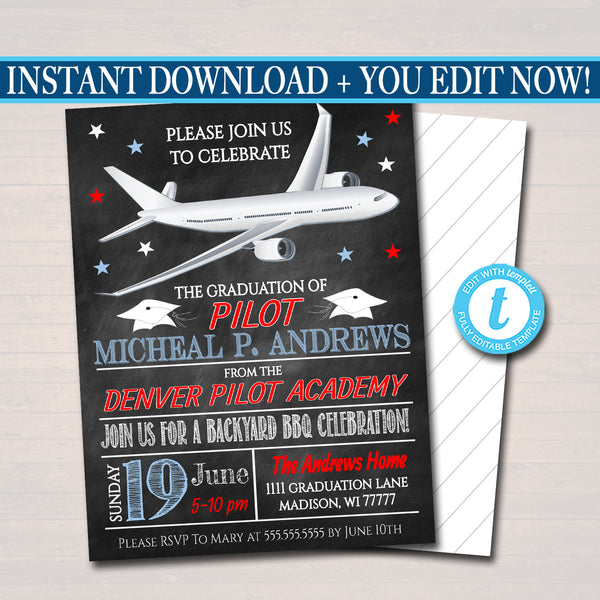 Pilot Graduation Invitation Air Force Academy Graduate Invite, Chalkboard Digital Printable, Commercial Jet Airline Pilot, EDITABLE TEMPLATE