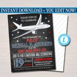 Pilot Retirement Invitation Air Force Invite, Chalkboard Digital Printable, Commercial Jet Airline Pilot Retirement Party, EDITABLE TEMPLATE
