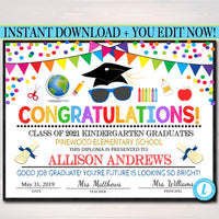 Graduation Ceremony Bundle, Invite, Diploma, Program Template, Any Grade School, Future is So Bright we gotta wear Shades, EDITABLE TEMPLATE