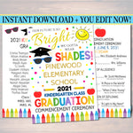 Graduation Ceremony Program Template Kindergarten, Any Grade Elementary School, Future is so Bright we have to wear Shades EDITABLE TEMPLATE