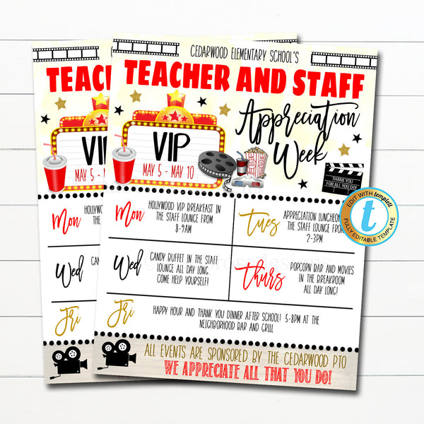 Hollywood Teacher Appreciation Week Itinerary Flyer Movie Theme You're A Star, Appreciation Week Schedule Events Printable EDITABLE TEMPLATE